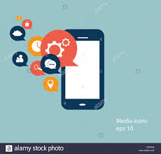 mobile phone icon with social media icons stock vector art