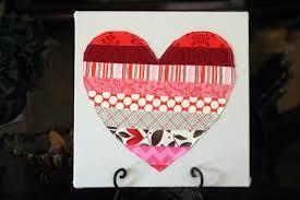 Fabric Heart Decorations Diy Scrappy Heart Canvas