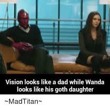 Wanda Meme - vision looks like a dad while wanda looks like his goth daughter