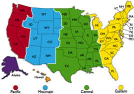 us map divided by time zones us map divided into time zones