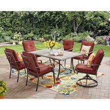 Charleston Patio Furniture by Mainstays Charleston Park 7 Piece Dining Set Red Walmart Com