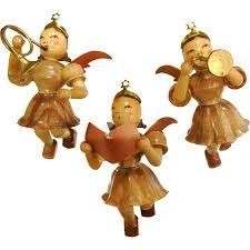set of three vintage german made wooden angel ornaments from