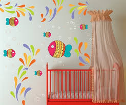 Nursery Decor Wall Stickers Colorful Fish And Sea Wall Decal Kit Nursery Room Decor