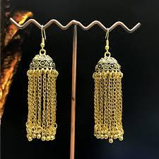 gold jhumka hoop earrings wholesale new designs tassels indian style gold jhumka hoop