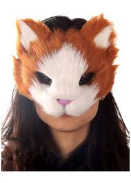 orange kitty cat furry face mask animal masks