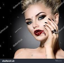 halloween vampire woman make up beautiful stock photo 328760906