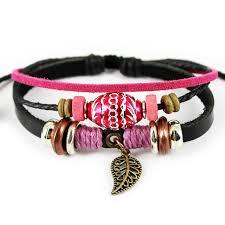 leather bracelet craft images Vintage hand craft leather bracelets leaf dangle charms bracelets jpg