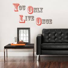 Bedroom Wall Writing Uk Yolo You Only Live Once Wall Quote Wall Sticker Set