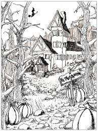 free coloring pages of a pumpkin haunted house and pumpkins halloween coloring pages for adults