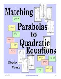 matching graphs to quadratic equations activity free version tpt