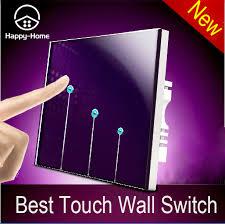 touch screen wall light switch wallpad luxury purple crystal glass switch panel 3 gangs 2 way led