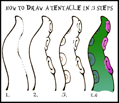 Halloween Pics To Draw Halloween Art How To Draw A Tentacle Step By Step Daryl Hobson