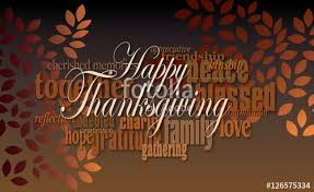 happy thanksgiving word montage with leaves graphic digital word