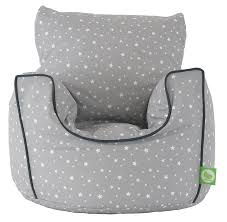 cotton grey stars bean bag arm chair with beans toddler size from