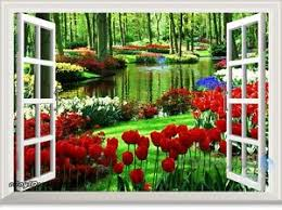 secret garden tulip 3d window view removable wall stickers decal
