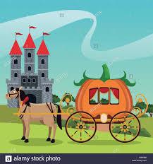 Pumpkin Carriage Castle With Pumpkin Carriage Horse Landscape Stock Vector Art