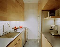kitchen minimalist maple cabinet corridor style kitchen design