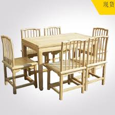 Table Six Restaurant Table And Six Chairs Combination Of Solid Wood Rectangular Dining