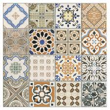 provenzia decorative mix pattern porcelain tile 18in x 18in