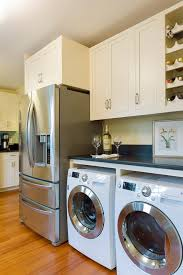 Countertop Clothes Dryer Washer Dryer In Kitchen Ideas Kitchen Beach Style With Honed Black