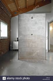 detail of shower cubicle in the attic with wood ceiling and