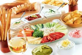 dips cuisine vegetable and dips buffet display stock photo thinkstock