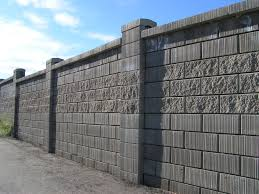 great construction of the cement block fence wall exterior design