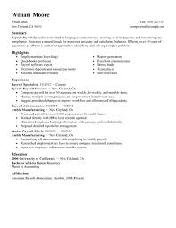 Resume Examples Finance by Best Payroll Specialist Resume Example Livecareer