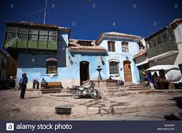 colored place in potosi with typical colonial spanish houses stock