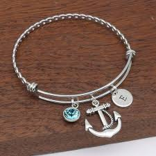bracelet with anchor charm images Anchor charm bracelet gift jewellery birthstone jpg