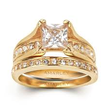 yellow gold bridal sets yellow gold 1 5 ct princess cut lab created diamond bridal set