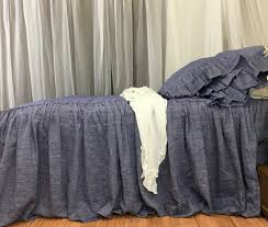Denim Curtain Chambray Denim Linen Bedspread Chambray Bed Cover Handmade In