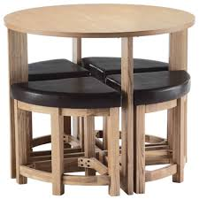 Saving Dinner by Dining Room Round White Oak Wood Dining Table With Backless Black