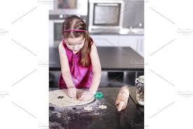 little cute is learning how to make cake in kitchen family