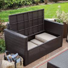 wicker patio storage coral coast berea outdoor wicker storage loveseat with cushions