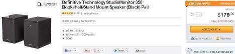 Definitive Technology Bookshelf Speakers Definitive Technology Studiomonitor 350 Bookshelf Speakers Pair