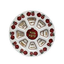 rosh hashanah seder plate rosh hashanah seder plate in pomegranate shape