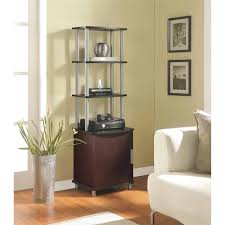 Audio Cabinet Rack Ameriwood Home Carson Audio Stand Cherry Black Walmart Com