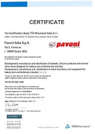 certifications pavoni italia