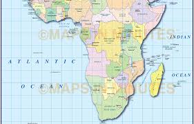 Africa Country Map Digital Vector Africa Map With Drop Shadow In Ai Illustrator And