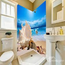 Seashells and Conches in the Seaside Pattern Waterproof 3D Bathroom