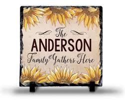home decor family signs slate sign monogram family name sign sunflower family sign