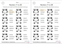 numbers 11 to 20 worksheets set 2