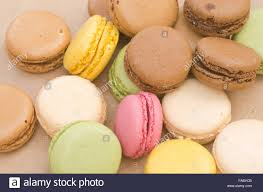 composition of multicolored french macaroons stock photo royalty