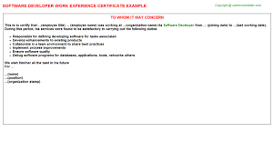 Resume Title For Software Engineer Software Developer Work Experience Certificate