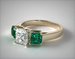 emerald engagement ring three step cut emerald engagement ring 18k yellow gold