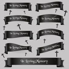 funeral ribbon black funeral ribbon banners set with text eps10 stock vector