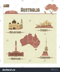 Australian Map Australian Map Most Famous City Australia Stock Vector 508138939