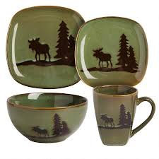 green lodge moose stoneware dinnerware collection tree
