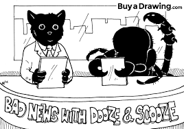 cartoon cat and scorpion costume drawing bad news with dooze and